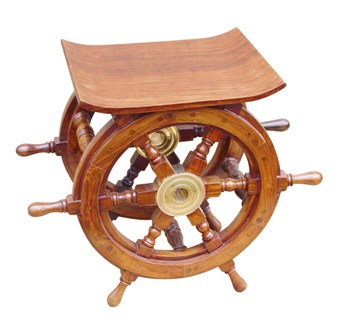 Bar stool and table in wood brass wheel - marine style - marine decoration