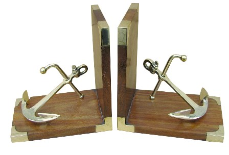 Bookend - Brass-Wood Anchor - marine style - marine decoration