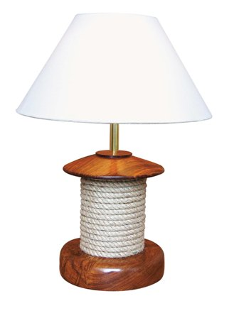 Lamp with wooden rope - marine style - marine decoration