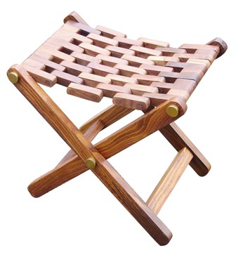 Folding Stool wood-brass - marine style - marine decoration