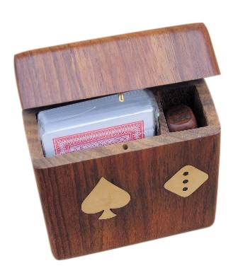 Dis-card game with folding wooden lid - marine style - marine decoration