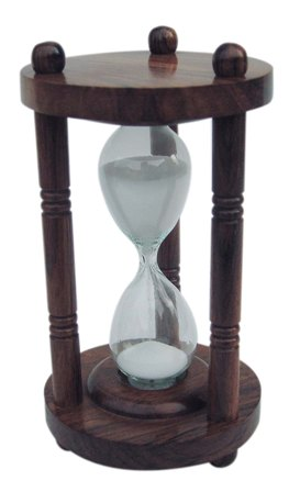 Hourglass - three wooden columns - 3 minutes - marine style - marine decoration