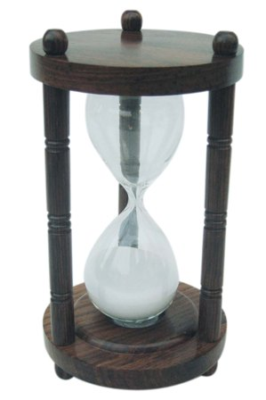 Hourglass - three wooden columns - 5 minutes - marine style - marine decoration