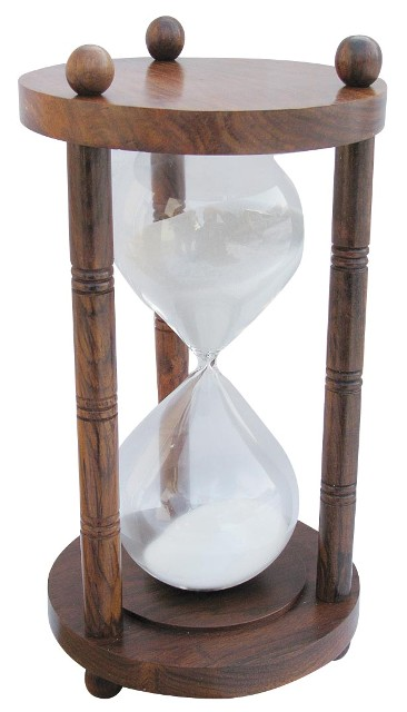 Hourglass - three wooden columns - duration 60 minutes - marine style - marine decoration