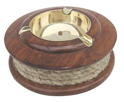 Ashtray with wood brass rope - marine style - marine decoration