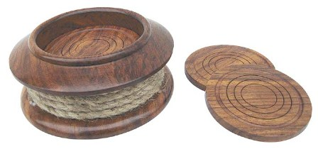 Coasters with wooden rope - marine style - marine decoration
