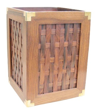 Wooden wastebasket with brass - marine style - marine decoration