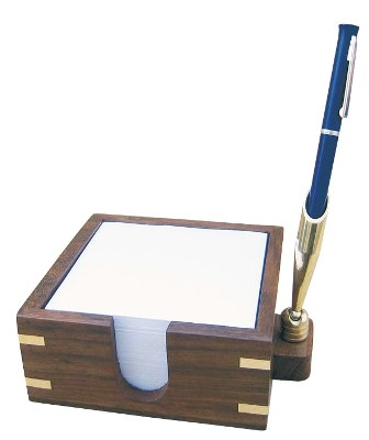 Memo box with wood-brass pen holder - marine style - marine decoration