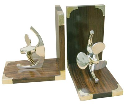 Bookend - wood brass propeller - marine style - marine decoration