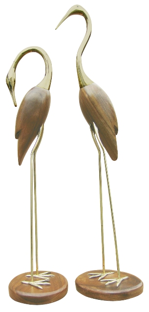 pair Seabirds wood-brass Crane - marine style - marine decoration