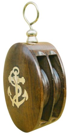 Sailboat double block brass beverage - marine style - marine decoration