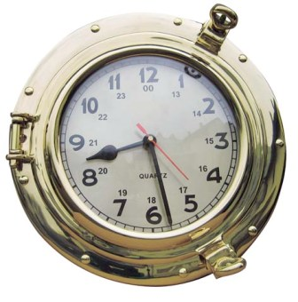 Clock in window - quartz movement brass - marine style - marine decoration