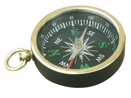 Compass - ring with black painted brass - marine style - marine decoration