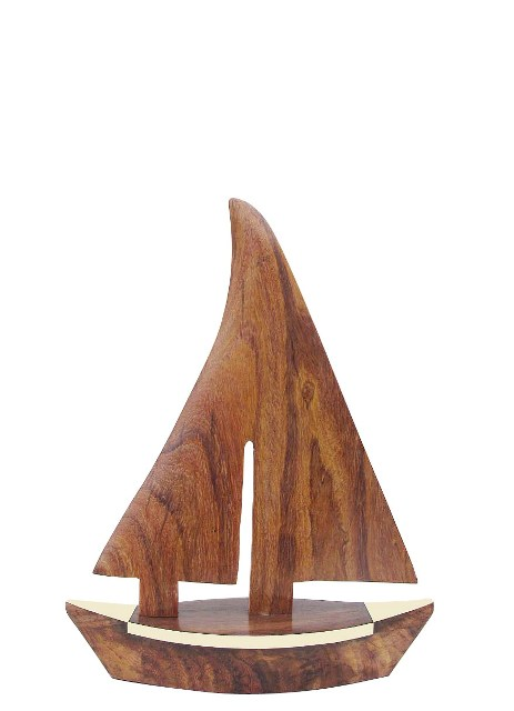 Wood brass sailboat - marine style - marine decoration