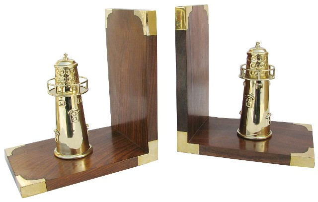Bookend - wood brass headlights - marine style - marine decoration