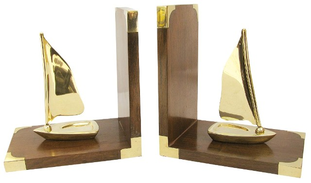 Bookend - wood brass Sailing - marine style - marine decoration