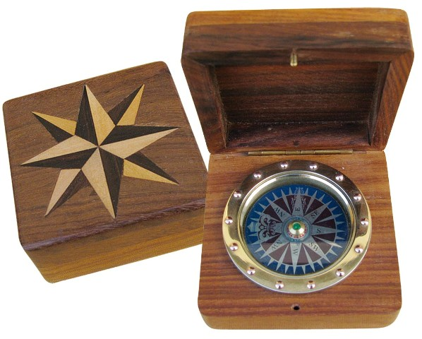 A brass compass in wooden box - marine style - marine decoration