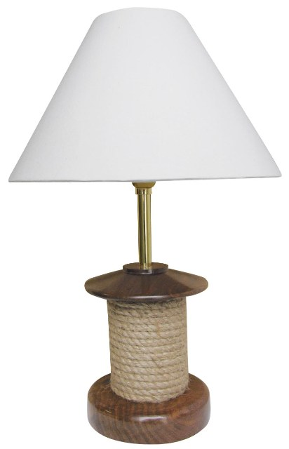 Marine Lamp with wooden rope - marine style - marine decoration