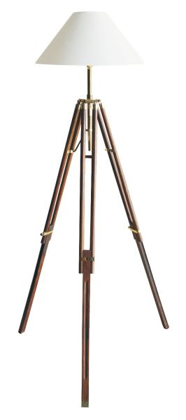 lamp Tripod - wood Brass lamp - marine style - marine decoration