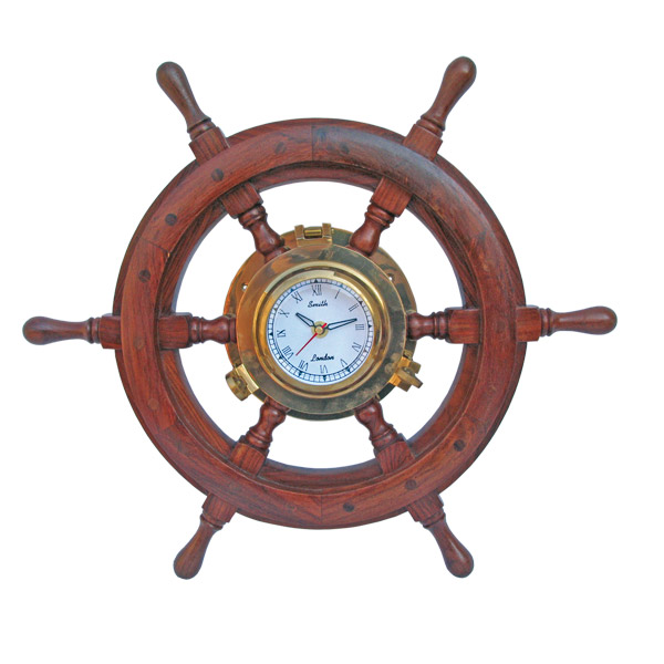 Steering wheel with Clock - marine style - marine decoration