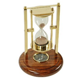 Hourglass with compass - marine style - marine decoration