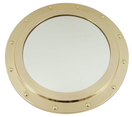 Porthole mirror -  non opening type -  polished brass finish ( delivered with the screws) -  12'' -