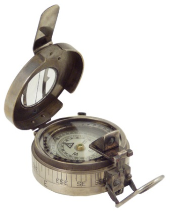 Brunton compass with its old leather pouch -  antic brass finish -  diam : 3'' - marine style - mari