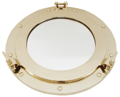 Porthole mirror -  open type -  polished brass finish (delivered with the screws) diam 12'' - marine