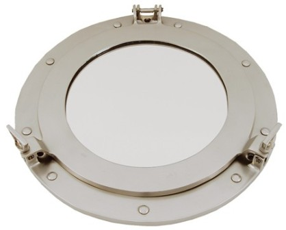 Porthole mirror -  open type -  pewter finish (delivered with the screws) -  diam 12'' - marine styl