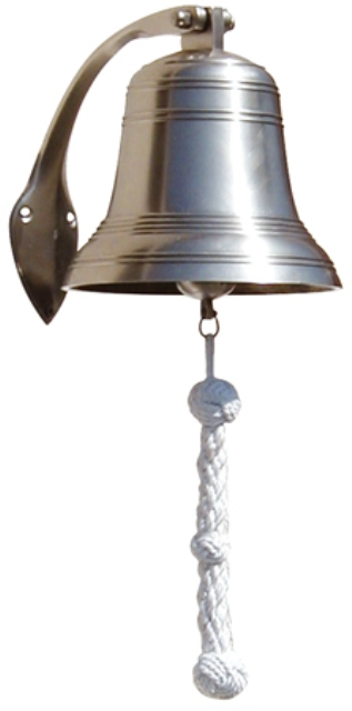 Heavy ship bell -  pewter finish (delivered with screens and cotton lanyard attached by a small shac