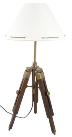 Tripod lamp in wood and antic brass finish -  230 V -  adjustable height from 17''2/3 to 23'' ½ - ma