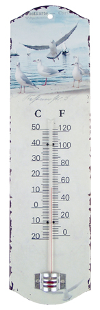 Tinplate wall thermometer -  H : 10'' 1/2*3'' -  gull - marine style - marine decoration