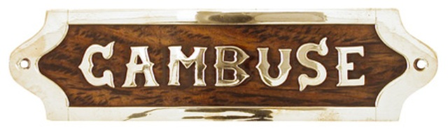 Wooden and brass door plates ( delivered with screws) -  L : 7''1/2 -  CAMBUSE - marine style - mari