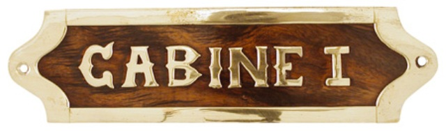 Wooden and brass door plates ( delivered with screws) -  L : CABINE I - marine style - marine decora
