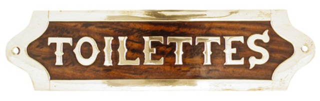Wooden and brass door plates ( delivered with screws) -  L : 7''1/2 -  TOILETTES - marine style - ma