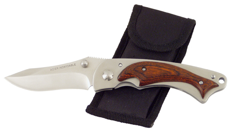 Pocket knife with security stop -  ambidextrous opening with 1 hand -  clip to carry at the belt -