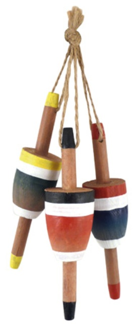 Wooden fishing floats -  set of 3 -  L : 4''1/3 - marine style - marine decoration