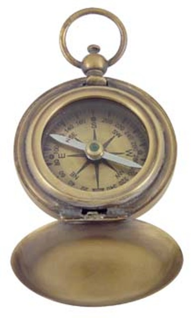 Compass -  antic brass finish -  with velvet poch -  diam : 1''4/5 - marine style - marine decoratio