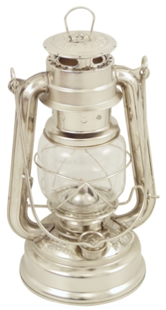 Nickel finish hurricane lantern Lantern 10'' -  burning time 16 hours - marine style - marine decora