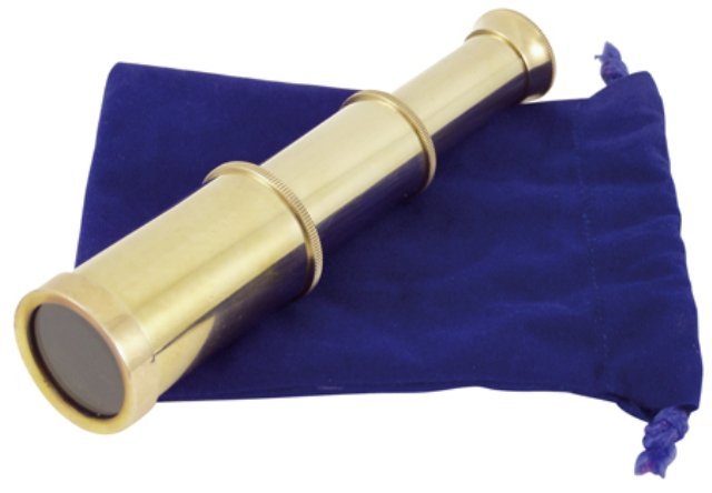 Shiny brass telescope -  magnification *2 -  with velvet pouch -  L : 6 '' - marine style - marine d