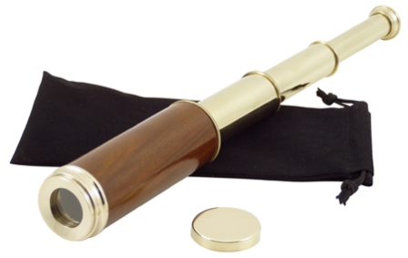 Shint brass telescope with wood -  magnification *3 -  with velvet pouch -  L : 14'' - marine style