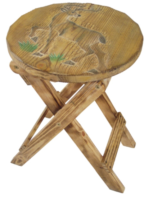 Wooden folding stool with a stag design -  H : 17''4/5 - marine style - marine decoration