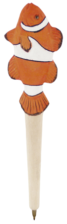 Wooden ball pen -  blue ink -  7''clown fish - marine style - marine decoration
