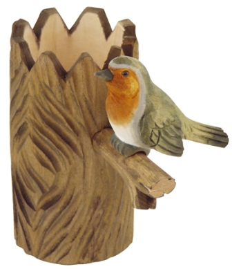 Wooden pencil pot with pencil sharpener -  H : 4'' 3/4 -  redbreast  - marine style - marine decorat