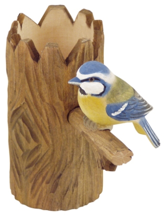 Wooden pencil pot with pencil sharpener -  H : 4'' 3/4 -  blue tit - marine style - marine decoratio