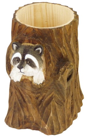 Wooden pencil pot -  H : 4'' ¾ -  racoon - marine style - marine decoration