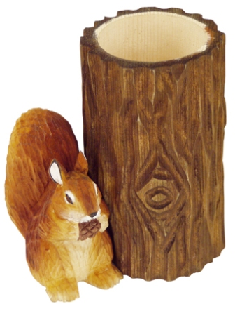 Wooden pencil pot with pencil sharpener -  H : 4'' 1/3 -  squirrel - marine style - marine decoratio
