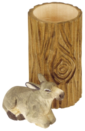 Wooden pencil pot with pencil sharpener -  H : 4'' 1/3 -  donkey - marine style - marine decoration