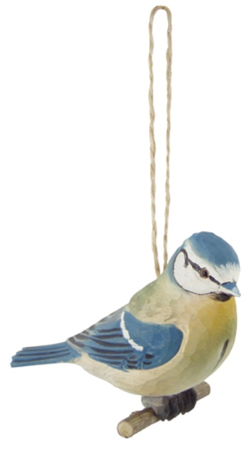 Wooden birds on the branch -  H : 4'' -  blue tit - marine style - marine decoration