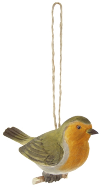 Wooden birds on the branch -  H : 4'' -  red breast - marine style - marine decoration